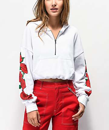 Empyre Sereane Rose White Quarter Zip Crop Hoodie