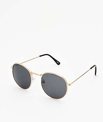 Empyre Seymore Gold & Black Round Sunglasses