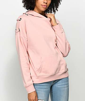 Empyre Shay Pink Lace Up Hoodie