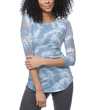 Empyre Sheffield Good Vibes camiseta béisbol con efecto tie dye en azul