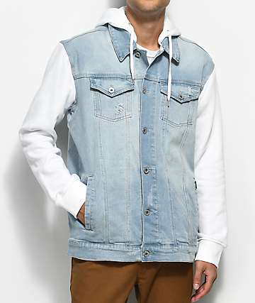 Empyre Sidecar Blue & White Hooded Fleece Denim Jacket