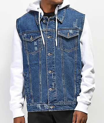 Empyre Sidecar White & Blue Denim Jacket