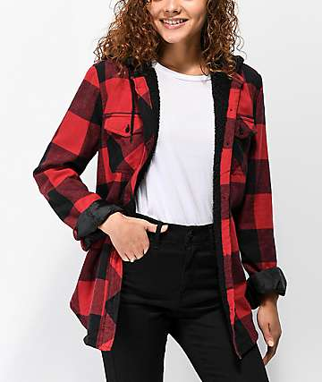 Empyre Skagit Sherpa Lined Red Plaid Shirt