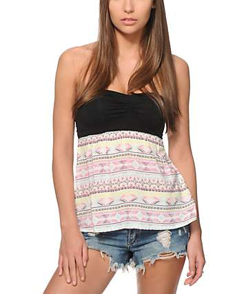 Empyre Skeeter Multi Tribal Strapless Tank Top