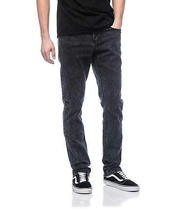 Empyre Skeletor Black Acid Washed Skinny Fit Denim Jeans