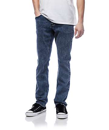 Empyre Skeletor Blue Acid Washed Skinny Fit Denim Jeans