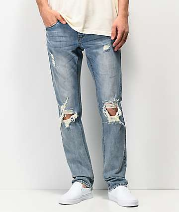 35ba49c3e161b Empyre Skeletor Cirrus Medium Blue Ripped Skinny Jeans