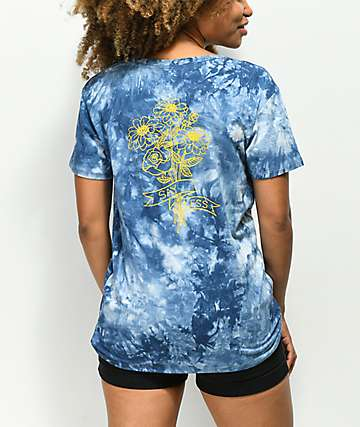 Empyre Sloane Bouquet Blue Tie Dye Knot Front T-Shirt