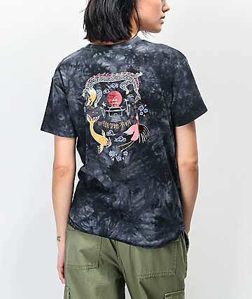 Empyre Sloane Dragon Neutral Black Tie Dye Tie Front T-Shirt