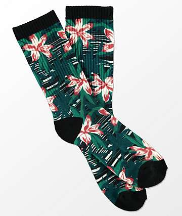 Empyre Space Vines Green & Floral Print Crew Socks