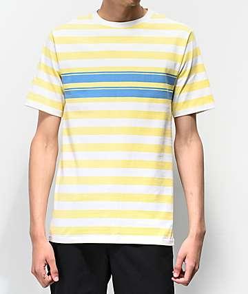 Empyre Split Blue & Yellow Striped Knit T-Shirt