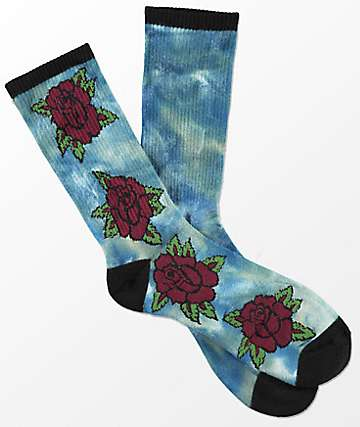 Empyre Stem Blue Tie Dye Rose Crew Socks