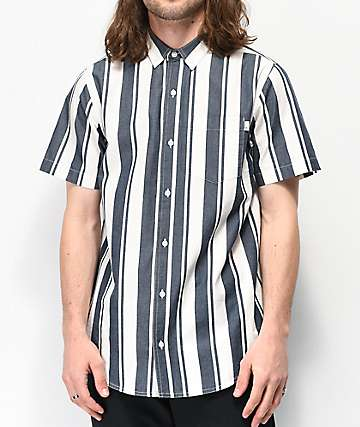 Empyre Steven White & Blue Stripe Short Sleeve Button Up Shirt
