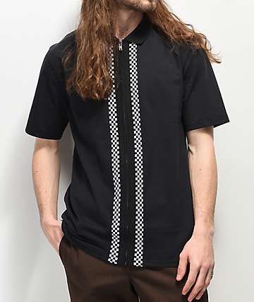 Empyre Striker Black Zip-Up Polo Shirt