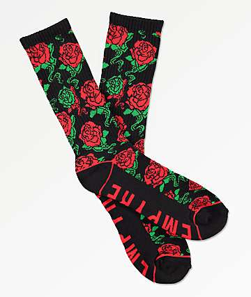 Empyre Stunts Black & Red Floral Crew Socks