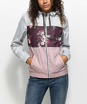 Empyre Sundee Grey, Floral & Mauve Full Zip Windbreaker