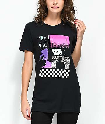 Empyre TV Woman camiseta negra estilo boyfriend