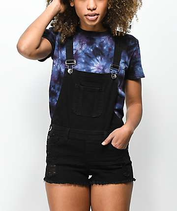 Empyre Taryn Distressed Black Overall Shorts