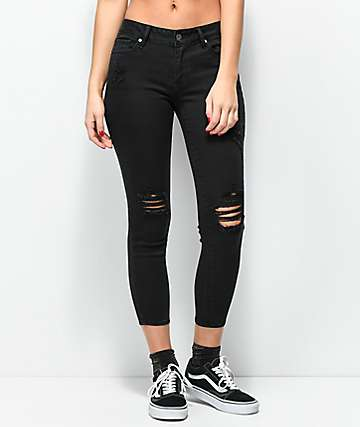 Empyre Tessa Black Distressed Crop Skinny Jeans