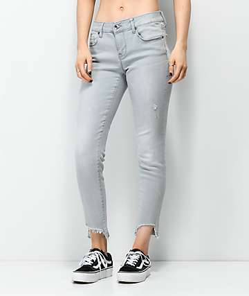 Empyre Tessa Granite Fray Ankle Skinny Jeans