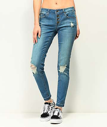 Empyre Tessa Indigo Button Front Skinny Jeans