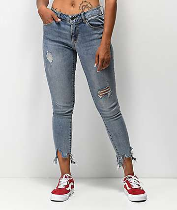 Empyre Tessa Meadow Fray Ankle Skinny Jeans