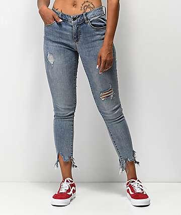 Empyre Tessa Meadow jeans ajustados con tobillos deshilachados