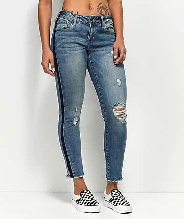 Empyre Tessa Race Day jeans ajustados con puños deshilachados