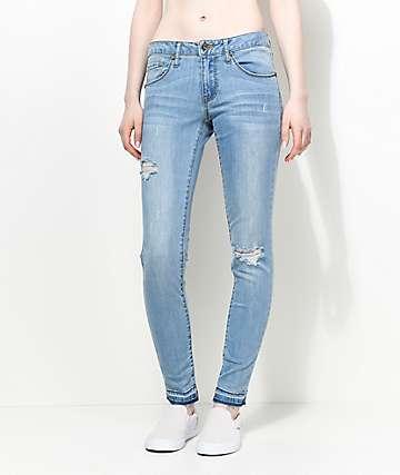 Empyre Tessa Retro Blue Raw Hem Skinny Jeans