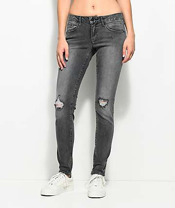Empyre Tessa Washed Black Distressed Skinny Jeans