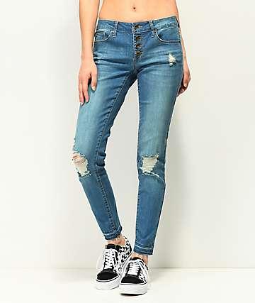 Empyre Tessa jeans ajustados con botones en añil