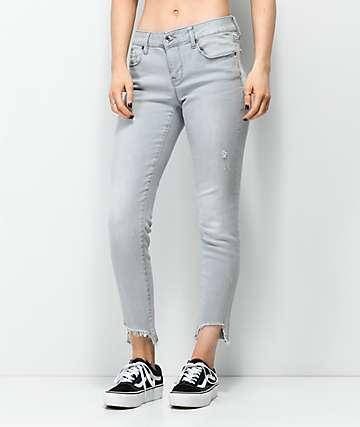 Empyre Tessa jeans grises ajustados con tobillos deshilachados