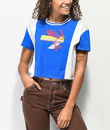 Empyre Tiare Blue & White Colorblock Crop T-Shirt