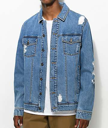 Empyre Ticket Destructed Blue Denim Jacket