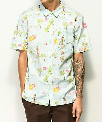Empyre Toddy Vintage Hawaiian Light Blue Woven Shirt