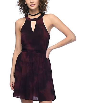 Empyre Toki Burgundy Tie Dye Dress