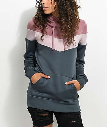 Empyre Traverse Tech Fleece Grey & Mauve Hoodie