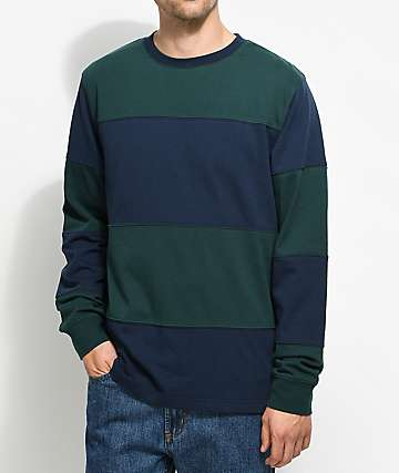 Empyre Two Lanes Long Sleeve Green & Blue Striped T-Shirt