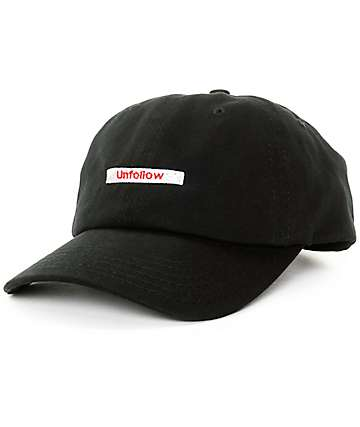 Empyre Unfollow Button Black Strapback Baseball Hat