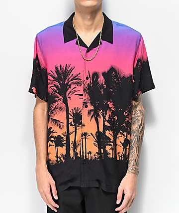 Empyre Vacation Black Woven Short Sleeve Button Up Shirt