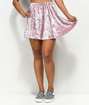 Empyre Valdosta Mauve Velvet Skater Skirt
