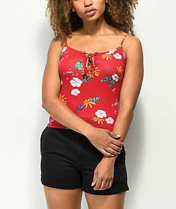 Empyre Valentina camiseta roja floral sin mangas con cordones
