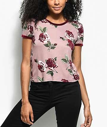 Empyre Velvet Mauve Floral Ringer T-Shirt