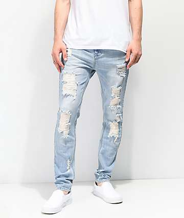 2e2202683367a7 Empyre Verge Sprint Blue Distressed Tapered Skinny Jeans