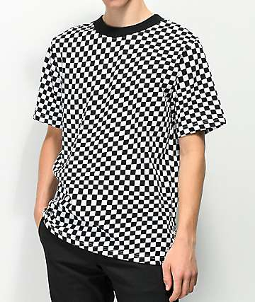 Empyre Wavy Checkered Black & White T-Shirt