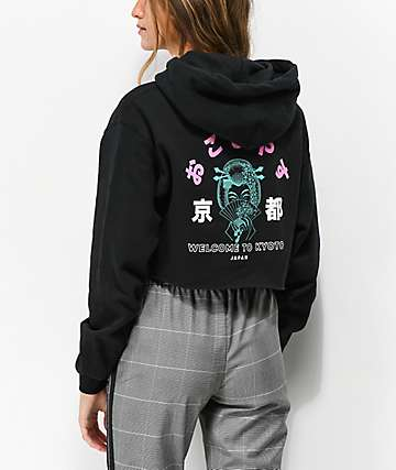 Empyre Welcome To Kyoto Black Crop Hoodie