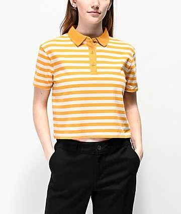 406f684937c Empyre Wilanne Yellow & White Striped Crop Polo Shirt