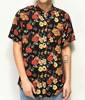 Empyre Wilfred Dark Floral Slinky Short Sleeve Button Up Shirt