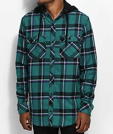 Empyre William camisa de franela en verde azulado y negro con capucha