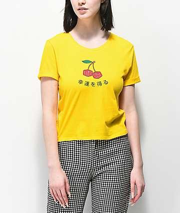 Empyre Yohana Cherry Dice camiseta corta amarilla